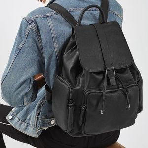 Top shop drawstring faux-leather back pack